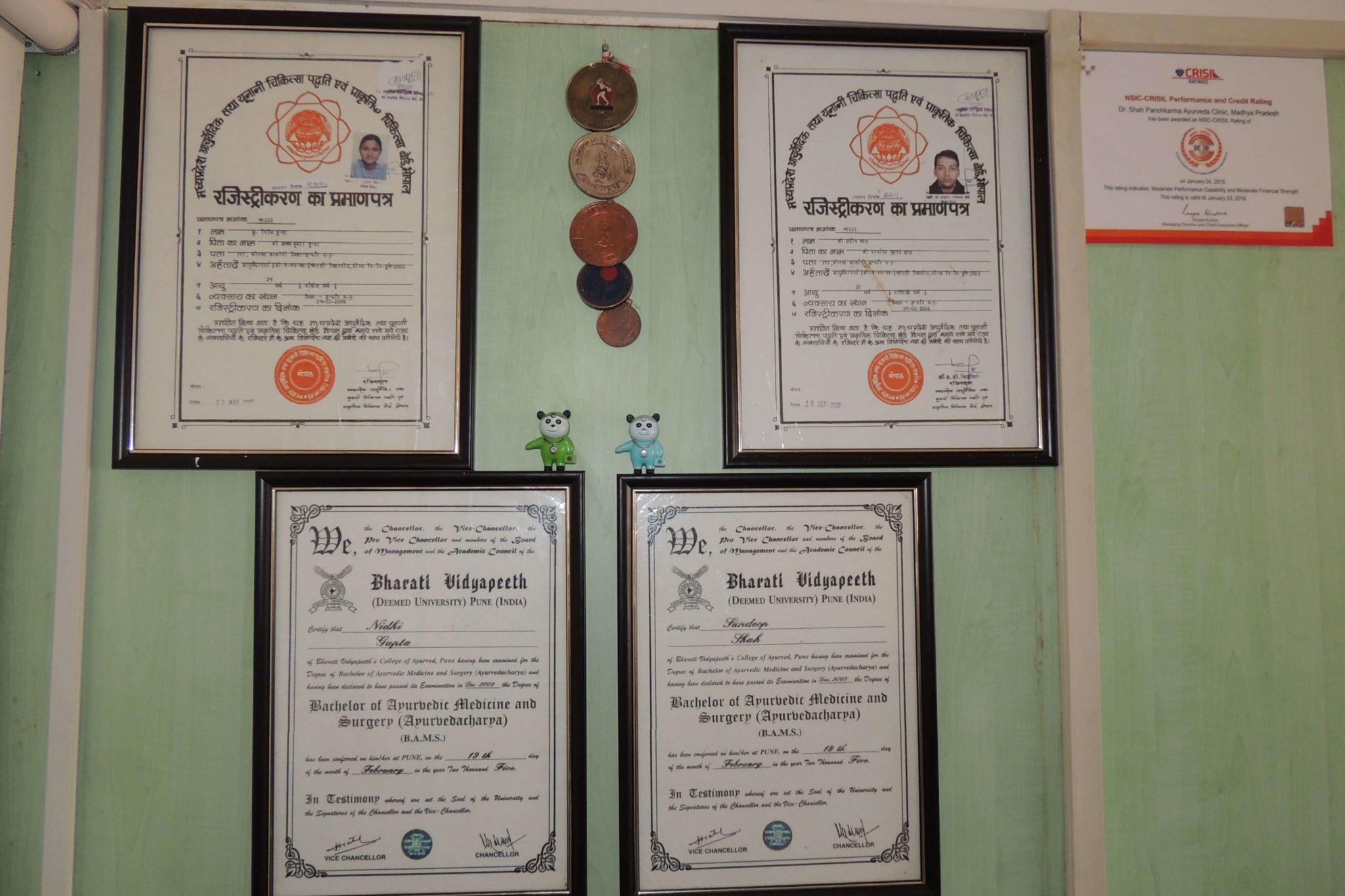 Dr Sandeep Shah Certificates